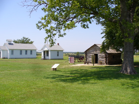 The cabin, post office and 1-room school house