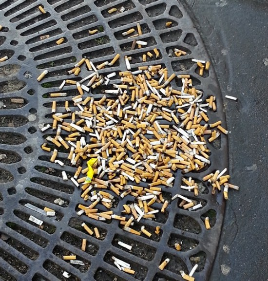 Cigarette butts on the sidewalk