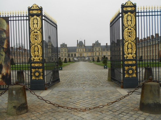 The front gates of the chateau