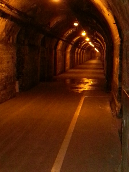 One of the main cave tunnels.  25 million bottles of champagne are stored in the cellars.