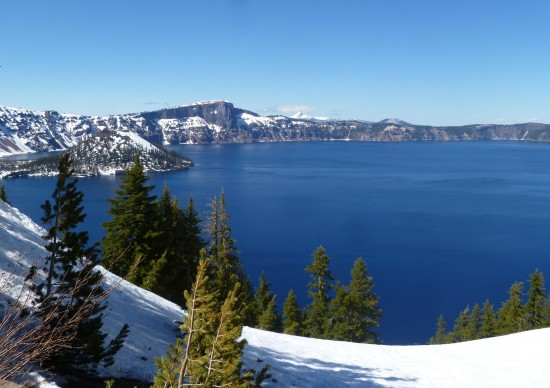Crater Lake and Wizard Island on the left.