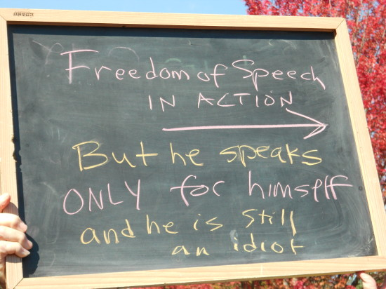 And this one - clearly she grabbed a chalk board from the nearby restaurant and expressed her freedom of speech as well