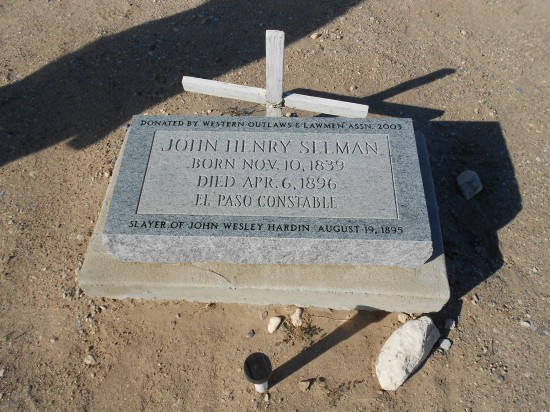 The grave of the man who shot John Wesley Hardin. Seems a little unbalanced, don't ya think?