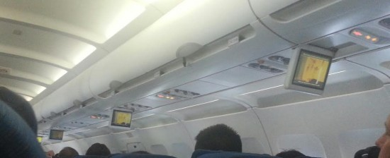 Gone are the days when flight attendants demonstrate emergency procedures, now, just watch the monitor, please.