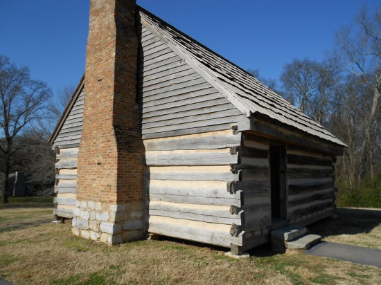 The log home of Andrew and Rachel Jackson, before the mansion was built.