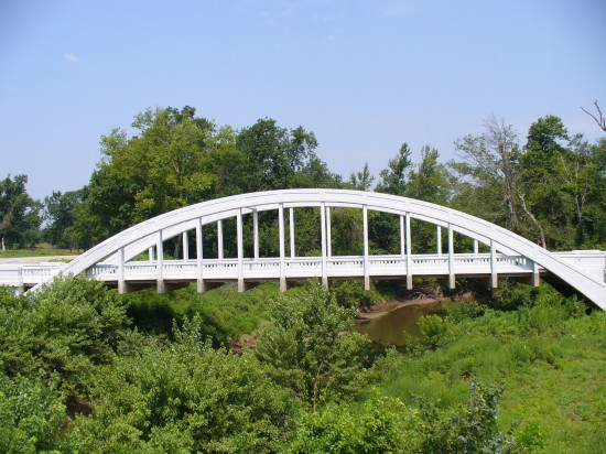 Rainbow Curve Bridge - constructed in 1923 over Brush Creek - only remaining marsh arch bridge on Route 66 - listed on the National Registry on March 10, 1983