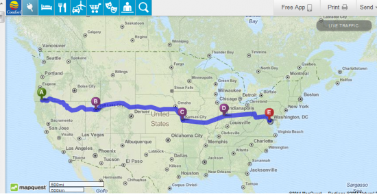 Our proposed route across the country, about 2,900 miles. We are hoping to make the drive in 7 - 8 days.