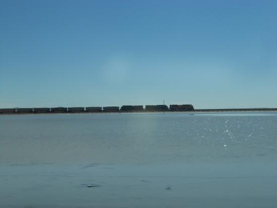 Cargo train crossing the salt flats