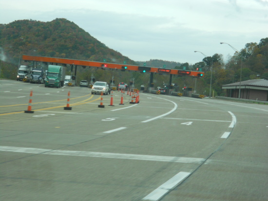 Virginia turnpike toll booth. Cars = $2. Big Betty = $3.25.