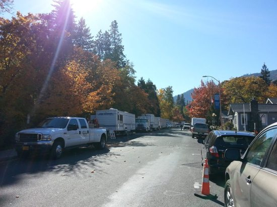 "The production crew of ""Wild"" set up in Ashland, OR"