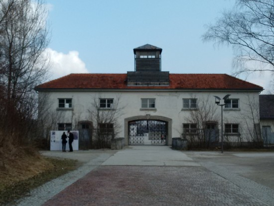 The entrance gate at Dachau.