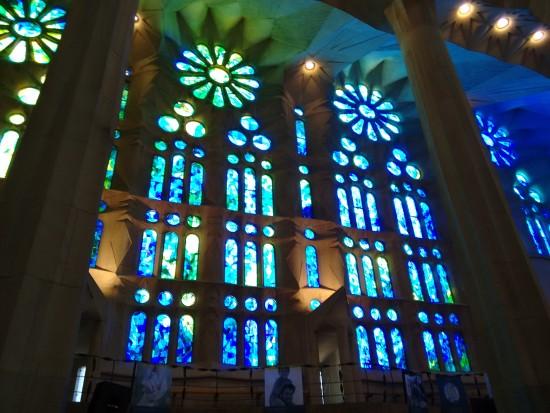 Stained glass representing the sea, La Sagrada Familia, Barcelona, Spain.