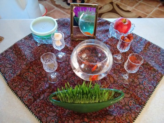 Sofreh Haft Sin, or 7 S. Seven symbolic items on display for Norooz.