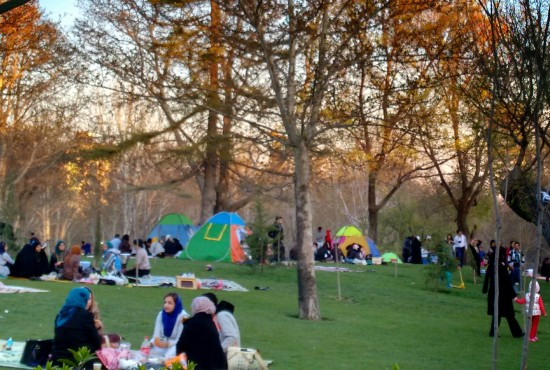 Pop-up tents are hugely popular for picnics in the park, in Tehran.