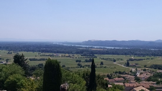 The Rhone River in the distance.