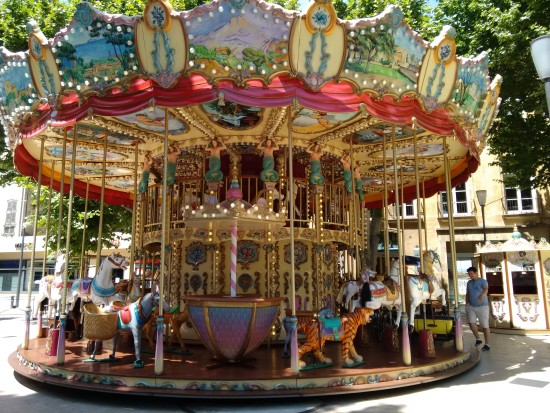 The carousel in charming Arles, France.