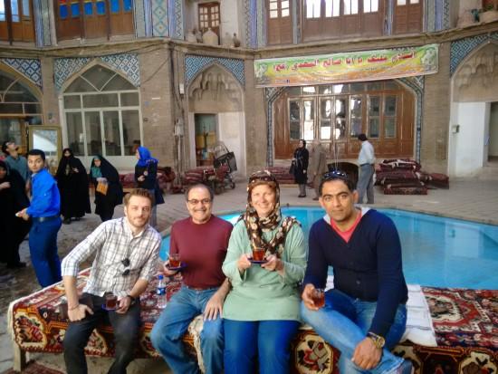 Sipping tea in the Kashan Bazaar - an historic caravanserai.