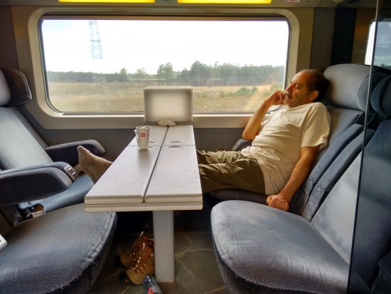 Watching the world go by -with his eyes closed - traveling from Paris to Bayonne, France.