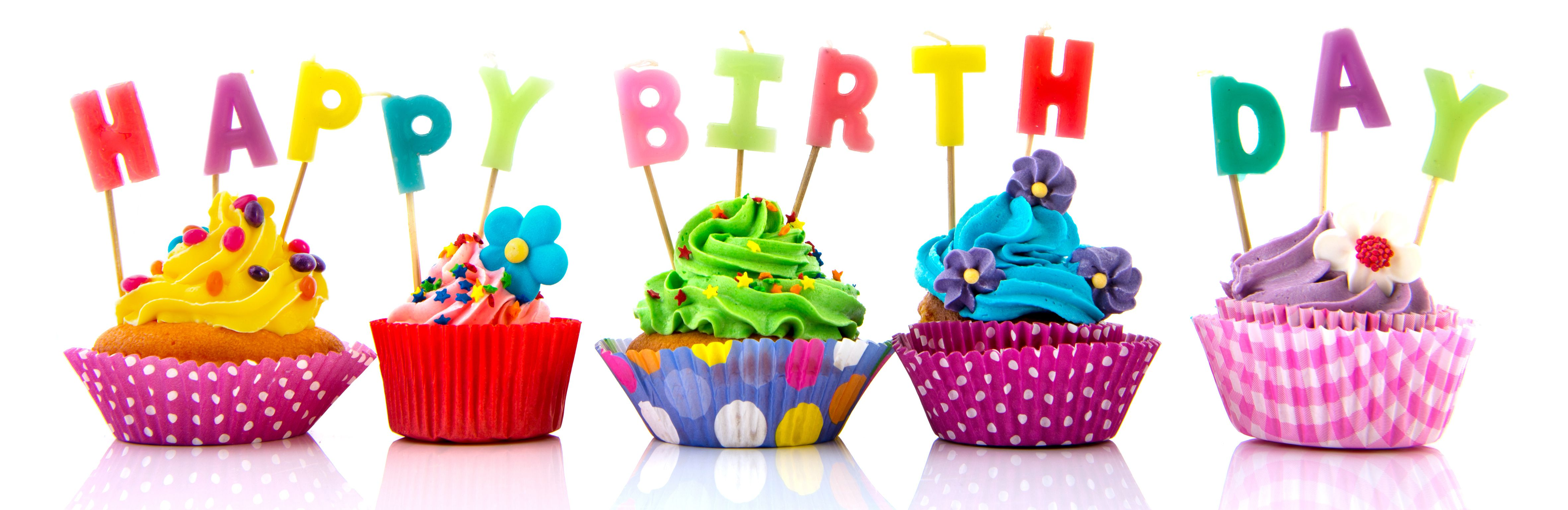 Happy Birthday Colorful Cupcake Graphic Share On Facebook