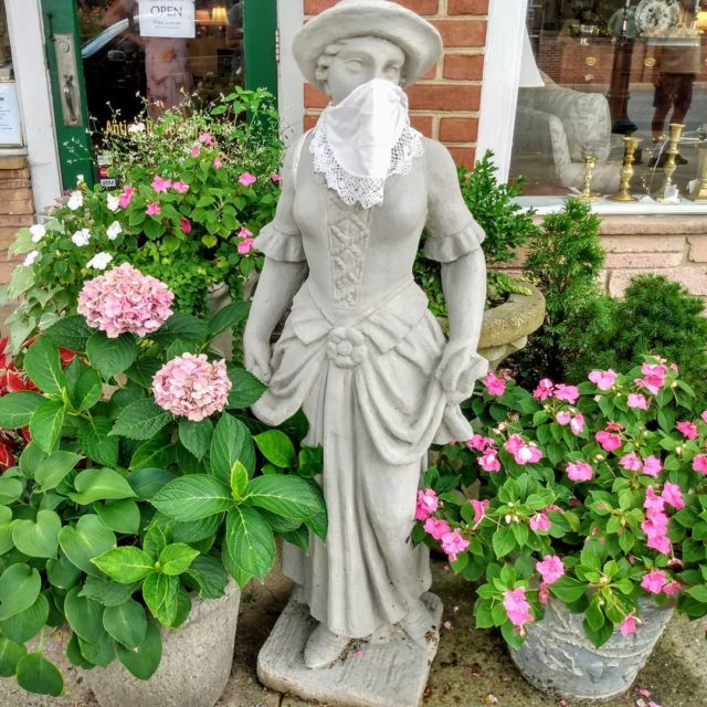 Embrace the mask! #socialdistancing #mask #stayhome #staysafe #statuary #garden #takeawalk #postcardsfromtheworld #picture #maryland #marylandphotography #photography #travelphotography