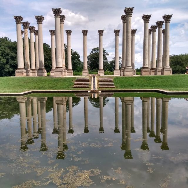 Capitol columns and reflecting pool. #nationalarboretum #washingtondc #capitolcolumns #postcardsfromtheworld #picture #photography #travelphotography #travelblogger #reflection #architecture