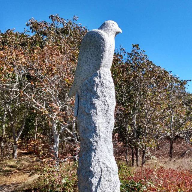 Granite trail marker.  #longpointwildliferefuge #marthasvineyard #trail #granite  #bird #travelphotography #photography #naturephotography #postcardsfromtheworld #picture