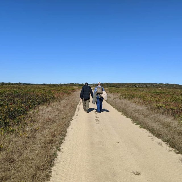 43 years and counting... #walking #lifesjourney #walkinghandinhand #marthasvineyard #longpointwildliferefuge #dirtroad #travelblogger #marriedlife #marriedpeople #bluesky